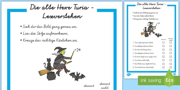 Die alte Hexe Turia Leseverstehen Arbeitsblatt - Walpurgisnacht