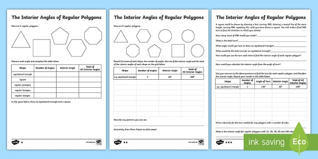 Interior Angles of Regular Polygons Differentiated Worksheet /