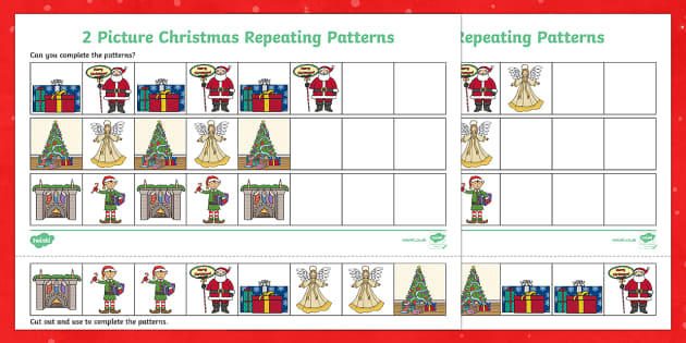 christmas picture repeating patterns worksheet activity sheets. Black Bedroom Furniture Sets. Home Design Ideas