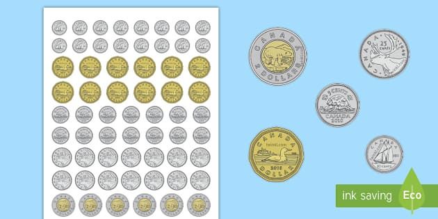 Toy Money Cut Outs : Life size canadian coin cut outs canada ks maths resource