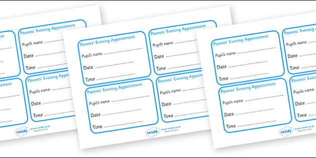 parents evening appointment cards parents parents evening