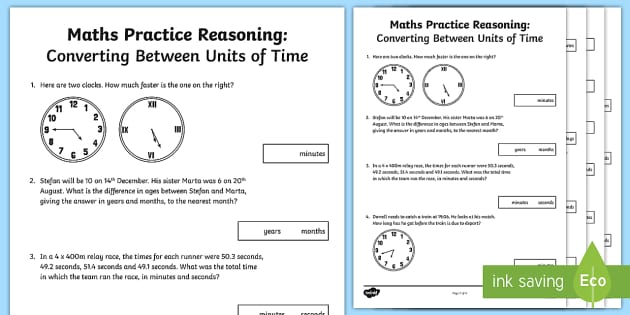 solve problems converting between units of time assessment