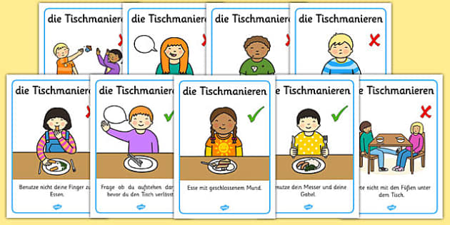 Die Tischmanieren German Table Manners Rules Display Poster