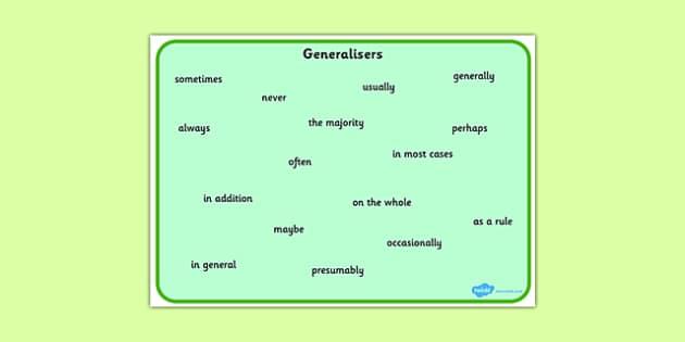 generalisers word mat
