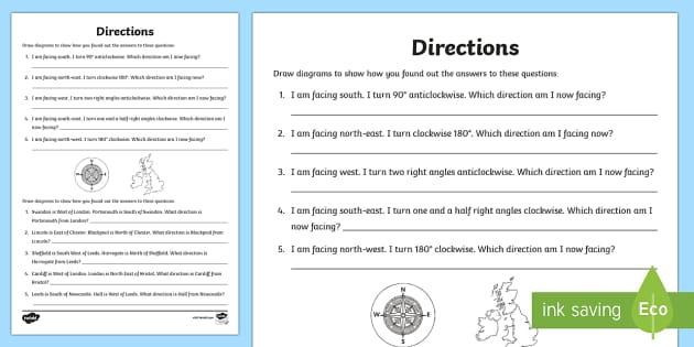 directions worksheet worksheet directions worksheet compass north. Black Bedroom Furniture Sets. Home Design Ideas