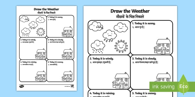 draw the weather worksheet worksheet english hindi draw the weather. Black Bedroom Furniture Sets. Home Design Ideas