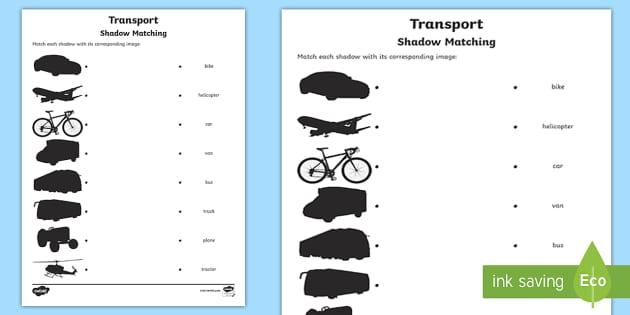 transport shadow matching worksheet activity sheet. Black Bedroom Furniture Sets. Home Design Ideas