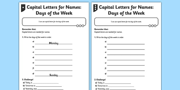 capital letters for names differentiated worksheet activity. Black Bedroom Furniture Sets. Home Design Ideas