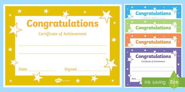 editable reward certificates for primary classes certificates