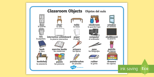 Classroom Objects Word Mat English Spanish