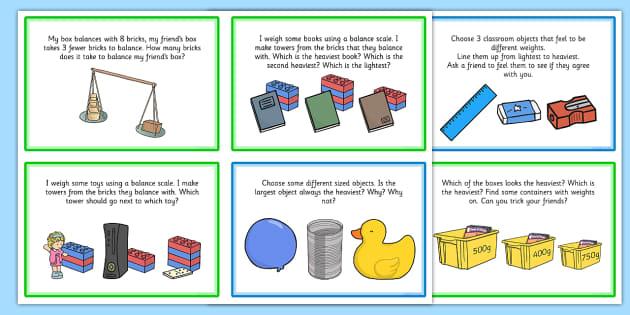 KS1 Weight Challenge Cards - ks1, weight, challenge, cards