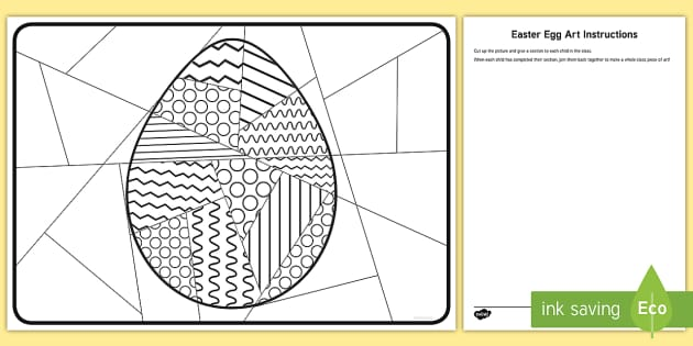 Whole Class Large Easter Egg Art Worksheet Worksheet Easter Egg