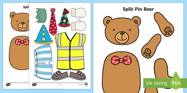 Bear, Teddy Bear, Split Pins, Games