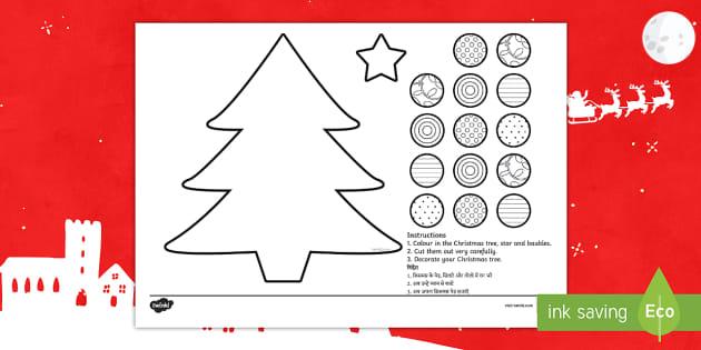 Cutting Skills Christmas Tree Activity Paper Craft English Hindi Tree