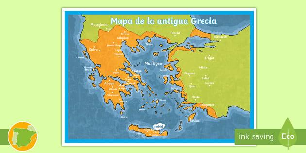 Mapa De Antigua Grecia.Poster Mapa De La Antigua Grecia Teacher Made