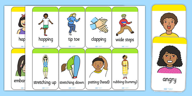 Action and Emotion Words Flash Cards - ourselves, all about me