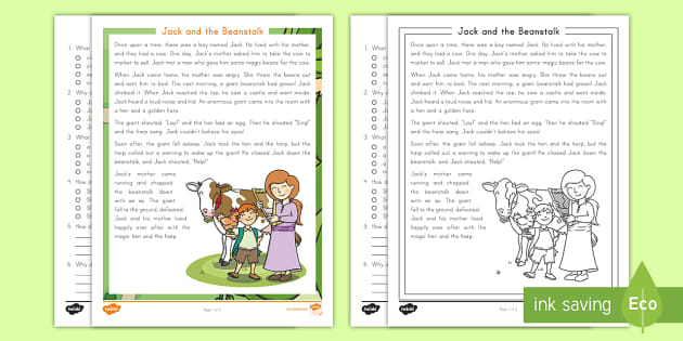 Second Grade Jack And The Beanstalk Reading Comprehension Activity