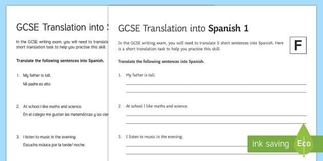 GCSE Translation into Spanish Foundation Tier 1 Worksheet
