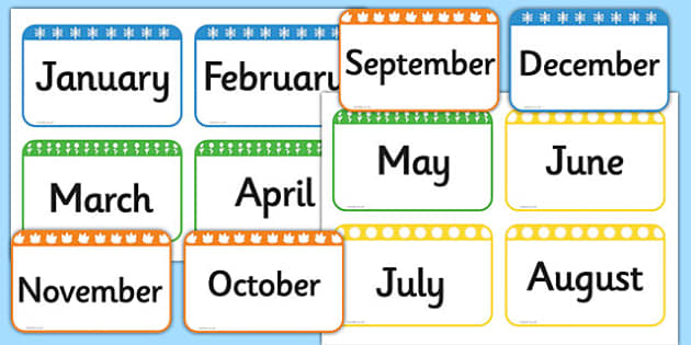graphic relating to Free Printable Months of the Year identified as Weeks of the Yr Flashcards