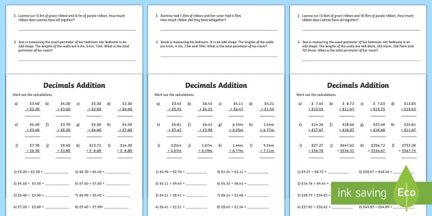 Decimals Addition Worksheet Activity Sheet Decimals