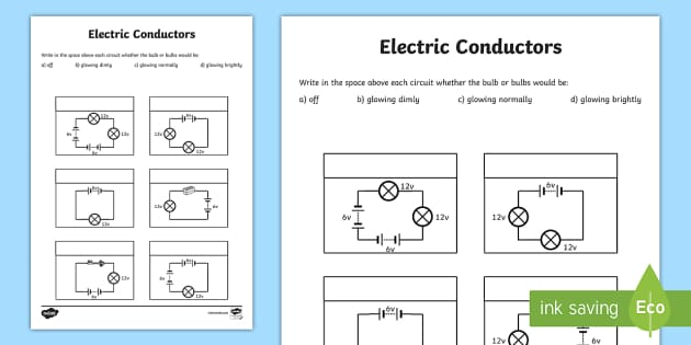 Electrical Circuit Conductors : Electric conductors worksheets electricity conducting