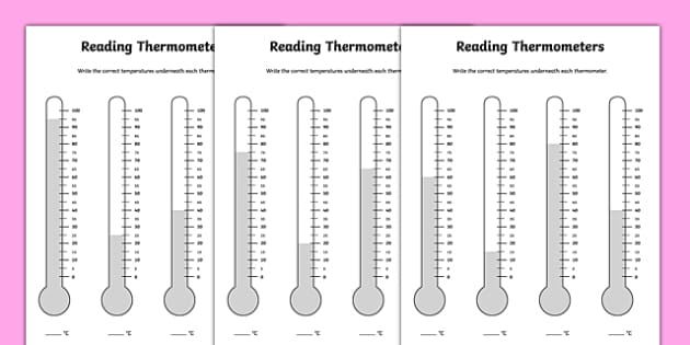 Reading Thermometers Worksheet thermometers temperature – Measuring Temperature Worksheets