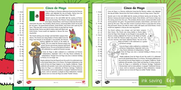 Cinco De Mayo Facts Reading Comprehension Activity