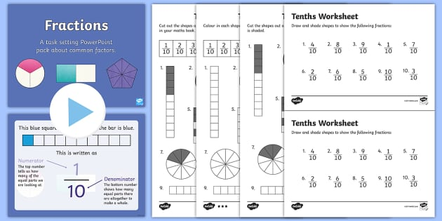 Year 3 Fractions Tenths Task Setter Powerpoint Activity