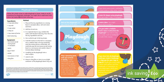 new  playdough recipe and challenge cards teacher made