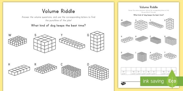 Volume Riddle Worksheet Worksheet Volume Cube Cubic