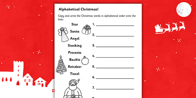 christmas words in alphabetical order worksheet christmas. Black Bedroom Furniture Sets. Home Design Ideas