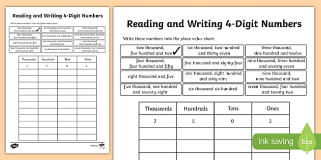 place value reading and writing 4 digit numbers worksheet. Black Bedroom Furniture Sets. Home Design Ideas