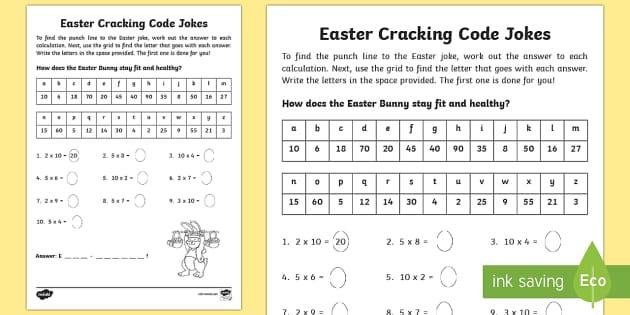 easter joke multiplication code breaker worksheet activity. Black Bedroom Furniture Sets. Home Design Ideas