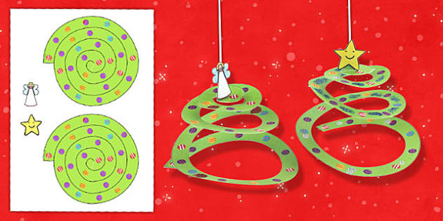 Simple paper tree ornament craft activity activities crafts for Printable christmas craft ideas
