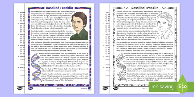 Fifth Grade Rosalind Franklin Reading Comprehension Activity