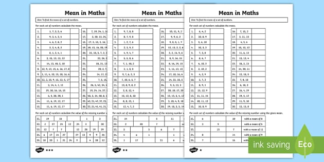 Year 6 Differentiated Mean in Maths Worksheets