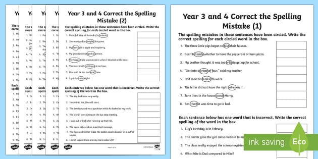 Year 3 and 4 Correct the Spelling Mistakes Worksheet / Worksheet Pack