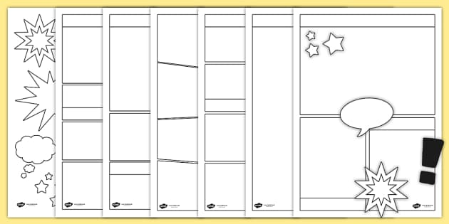 Blank comic book templates comic comic books writing for Printable blank comic strip template for kids