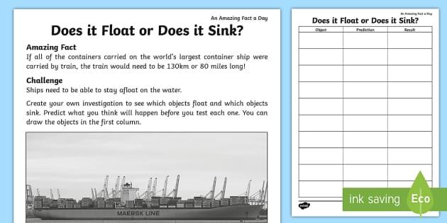Does It Float Or Does It Sink Worksheet Worksheet