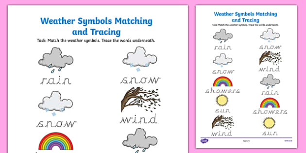 Weather Symbols Matching And Tracing Worksheet Worksheet