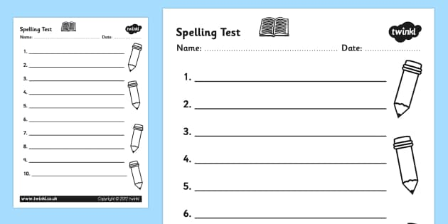 Captivating Spelling Test Template Worksheet   Spelling Test, Spelling Test
