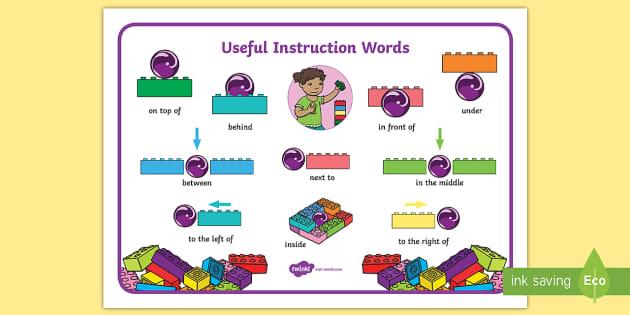 Building Bricks Useful Instruction Words Mat (teacher made)