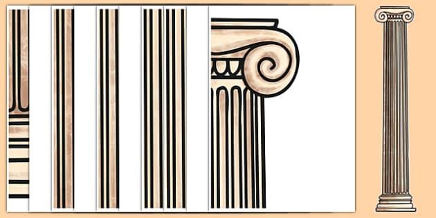 Door Sized Ancient Greek Column Display - door sized, door