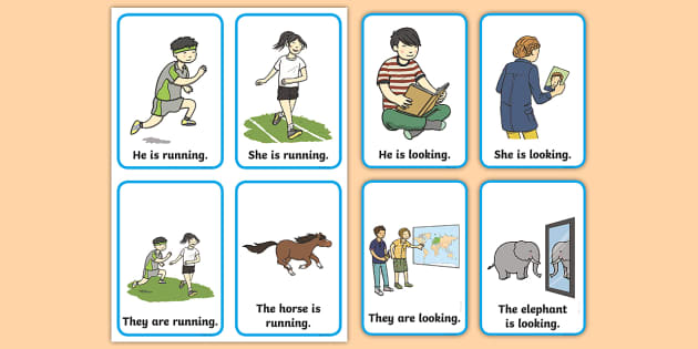 Verb Action Flash Cards Present Tense Verb Action