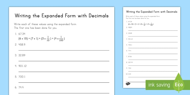 Writing The Expanded Form With Decimals Worksheet Activity