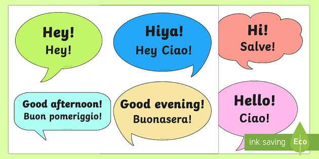 English In Italian: Social Greetings Prompt Cards English/Italian