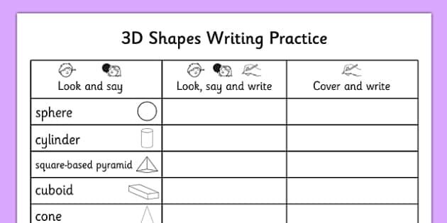 3d shapes writing practice worksheet 3d shapes writing practice. Black Bedroom Furniture Sets. Home Design Ideas