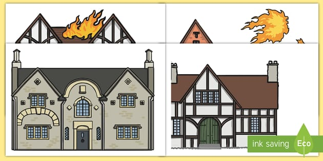 The Great Fire Of London Houses Display Cut Outs Tudor
