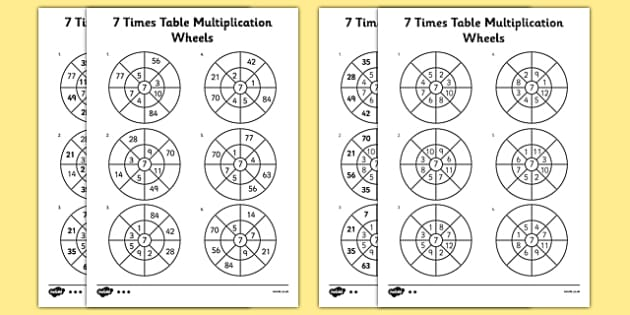 7 Times Table Multiplication Wheels Worksheet Activity Sheet