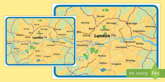 Show Map Of London.Map Of London Large Display Poster The Great Fire Of London